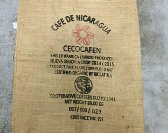 Burlap Coffee Bag, Nicaragua, with logo (36x30)
