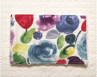 Baby Burp Cloth- Modern Funky Florals- Cotton And Mink- Purple- Blue- Yellow- Green