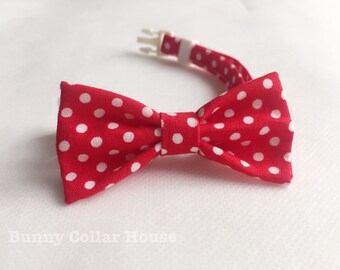 New Red Polkadot Collar, rabbit clothing, rabbit accessories, bunny clothing, pet Accesories, rabbit collar, cat collar, bunny, rabbit