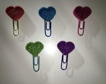 Planner clips: Glitter hearts