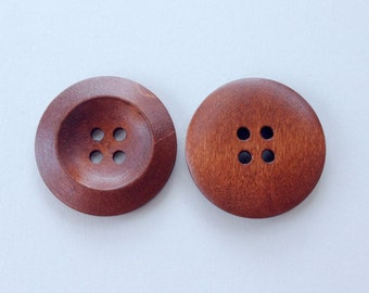10 Coffee Wood Buttons, 30 mm (1 1\8 Inch), 4 Holes - Wooden Buttons, Set of 10 (RC3002)