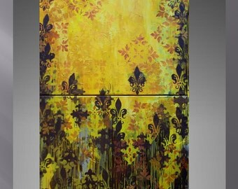 Modern and abstract painting , contemporary  art . modern wall art , YELLOW TREES, abstract perspective . yellow and brown on canvas