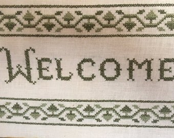 """Vintage Hand-Made Embroidery """"Welcome"""""""