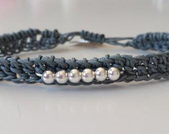 Crochet macrame bracelet and beads, grey crochet blacelet, beaded bracelet, macrame jewelry