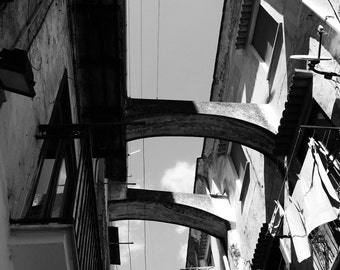 Street in Amalfi 4: Black and White Photographic Print
