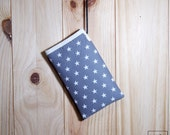 cover for Mobile 6 inch of Star grey / phone case 6 inches of cotton fabric printed with grey stars