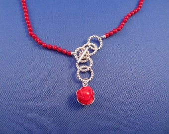 Red Coral Necklace with Adjustable Length