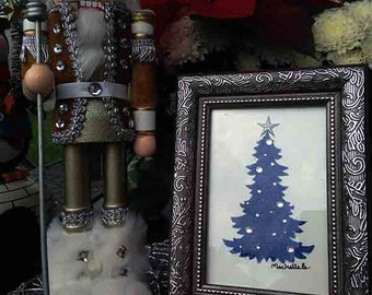 Christmas Tree _ Blue_ SliverBrown Frame