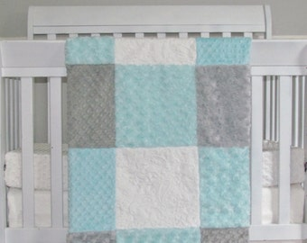 Adorable Aqua Minky Baby Blanket