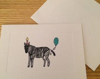 Zebra and the Balloon Birthday Card