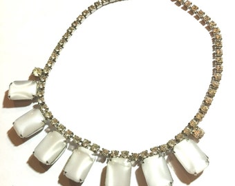 Rhinestone and white stone short special event necklace