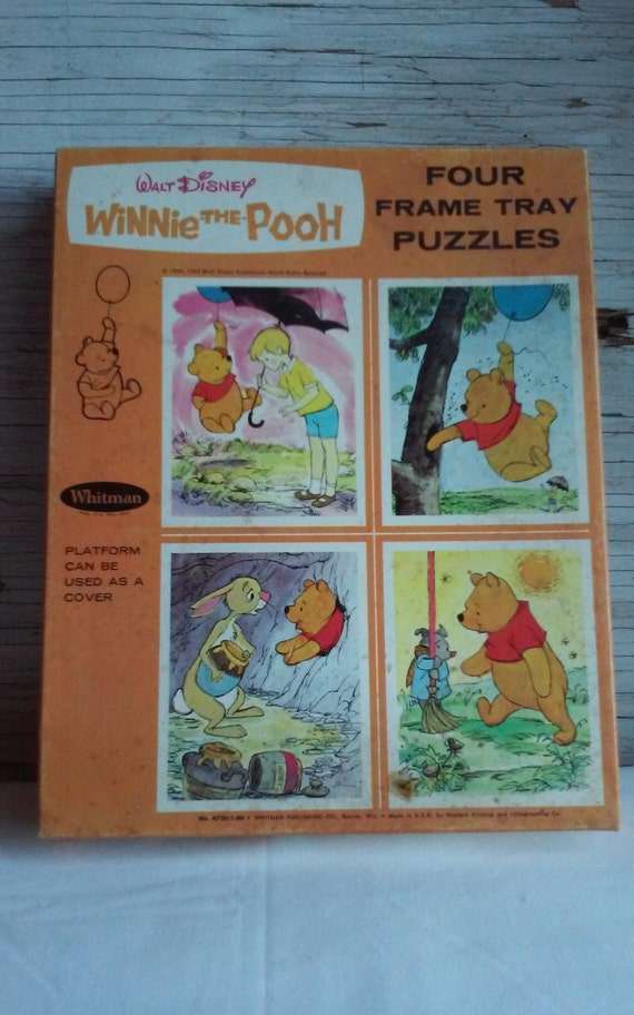 "Vintage 1964 Walt Disney ""Winnie the Pooh"" Four Frame Tray Puzzles.   Whitman Publishing Co Racine,  Wis.  Original Box, Puzzles Never Used"
