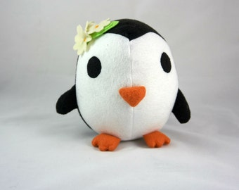 Lady Penguin Doll, stuffed animal, felt stuffed doll, penguin soft doll, penguin toy, plush doll, stuffed toy, handmade doll