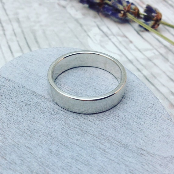 Plain Silver Ring Simple Silver Band Wedding Ring By