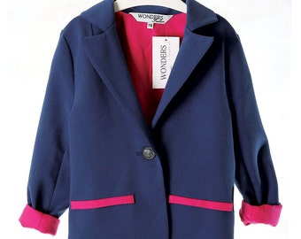 Blazer for Girls in Blue Colour with Pink Lining