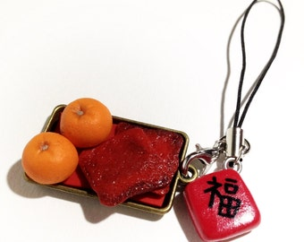 Lucky Oranges & Sweet BBQ Meat Polymer Clay Strap