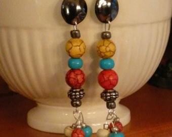 Magnesite Turquoise Dangle Earrings