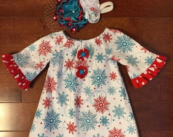 Red & Blue Snowflake Dress with a matching headband