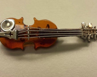 Sterling Silver .925 translucent Amber Violin Brooch, unique and delicate