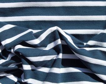 Single Jersey Cotton, 4% lycra,  Stripes -  White + Dark Blue 1 : 2