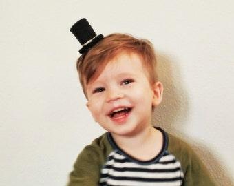 Mini Top Hat - Felt Hat Mini Hat - Miniature Hat Hair Clip - Boys Hair Clip - Baby Little Kid Gift - Baby Boy - First Birthday Gift