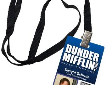 Dwight Schrute Dunder Mifflin Inc. Novelty ID Badge The Office Prop Costume 0009