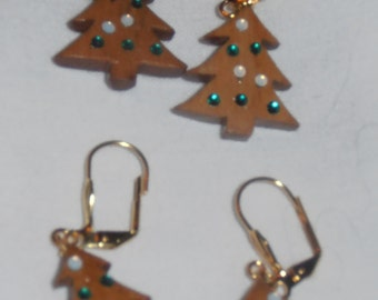Wooden Christmas Trees Earrings with Colored Beads