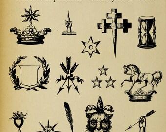 Set of FOURTEEN Photoshop Brushes Icons Symbols Heraldic Family Crest Digi Stamps  Clip Art Download