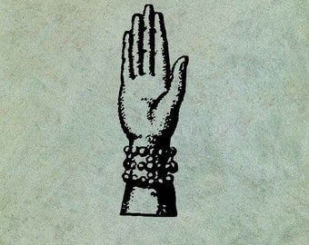 Hand with Pearl Bracelet - Antique Style Clear Stamp