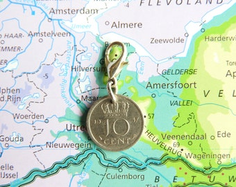 Netherlands dime coin charm in birth year 1960 - 1961 - 1962 - 1963 - 1964 - 1965 - 1966 - 1967 - 1968 - 1969