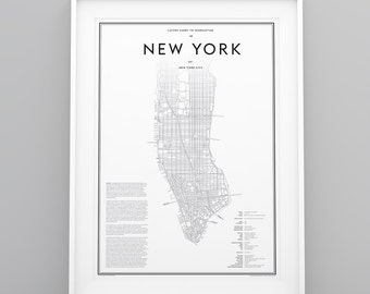 Studio Layers Guide to New York City Manhattan Map black white poster