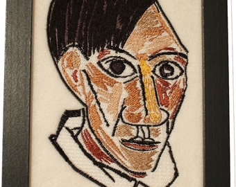 Picasso Self Portrait 1907 - Embroidered Reproduction