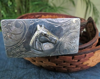 Vintage Mexican Leather Belt and Horse Belt Buckle