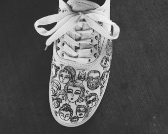 Hand drawn shoes/ sharpie art shoes