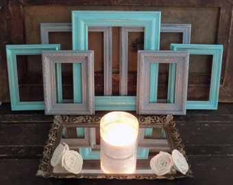 Picture Frame Set, Seven Distressed Frames, Any Custom Frame Color: Gray, White, Teal, Red, Yellow, Aqua, Turquoise, Green, Black, 5x7, 8x10