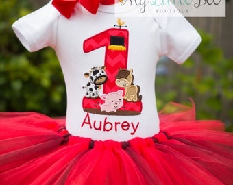 First Birthday-Barnyard Birthday Tutu Outfit- Farm Barnyard Birthday Outfit-Farm animals Birthday Outfit-age 1-5