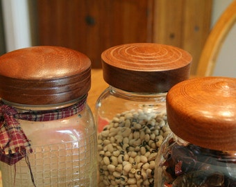Three Wooden Mason Jar Lids