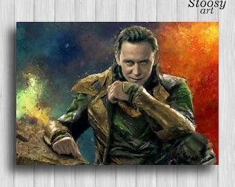 Loki print avenger painting marvel watercolor