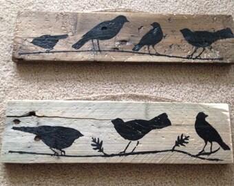Pallet art - bird silhouettes