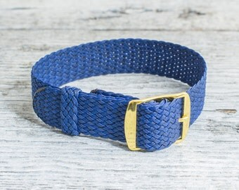 Navy Blue perlon strap with gold buckle ( 18mm ) waterproof nylon strap, royal blue perlon, watch strap, watch band, perlon band