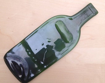 Imperfect Green Glass Wine Bottle Cheese Tray