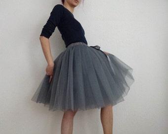 Tulle skirt petticoat anthracite grey 55 cm length skirt