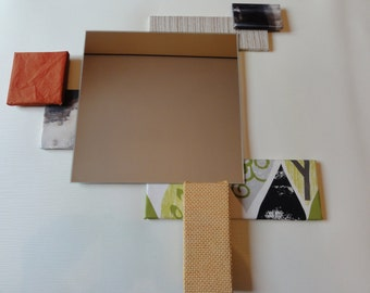 Mirror with patchwork fabrics, handmade in Italy (custom-made on request)