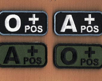Tactical Blood Type Patches Black/Olive Drab O+ A+ Positive Velcro