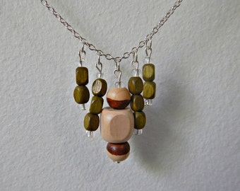 kaki wood bead necklace - natural wood beads