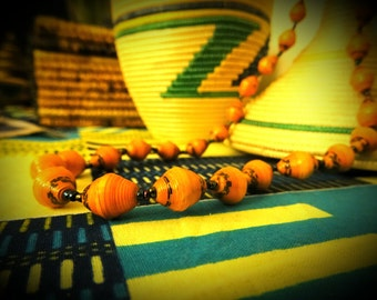 Tan/orange paper bead necklace