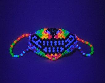 Neon Rainbow Wolf Mask