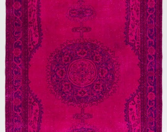 7x11 Ft Magenta, Fuchsia Pink color OverDyed Vintage Turkish Rug. Ideal for both residential and commercial interiors. Wool & Cotton. Y404
