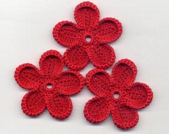 Crochet Flowers Red flowers Crochet flowers 5.5 cm Flowers red crochet Flowers applique Crochet applique Handmade applique Flowers
