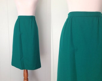 1980s Pendleton Skirt | 80s Wool Skirt | Vintage Green A-Line Skirt